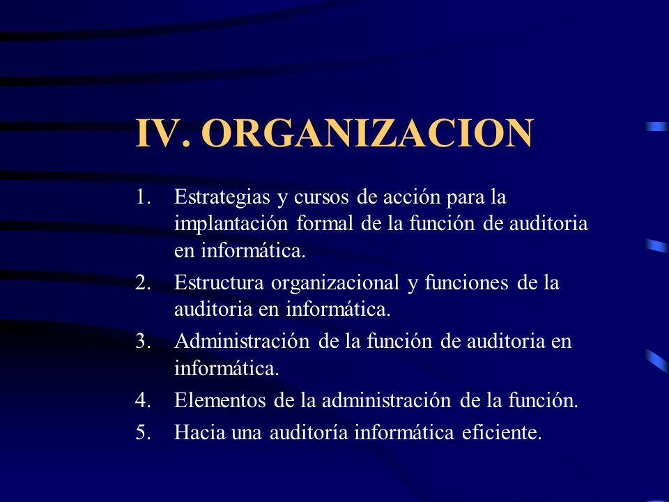 IV. ORGANIZACION 1.Estrategias y cursos de acción para la implantación formal de la función de auditoria en informática. 2.Estructura organizacional y