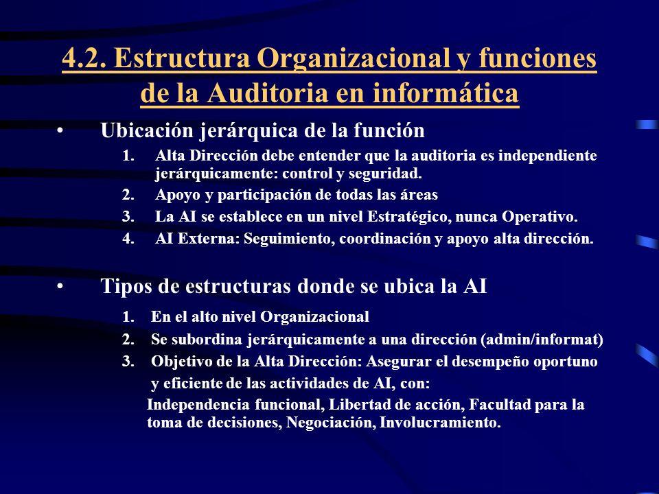 4.2. Estructura Organizacional y funciones de la Auditoria en informática Ubicación jerárquica de la función 1.Alta Dirección debe entender que la aud