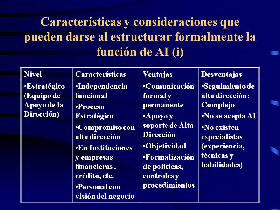 Características y consideraciones que pueden darse al estructurar formalmente la función de AI (i) NivelCaracterísticasVentajasDesventajas Estratégico