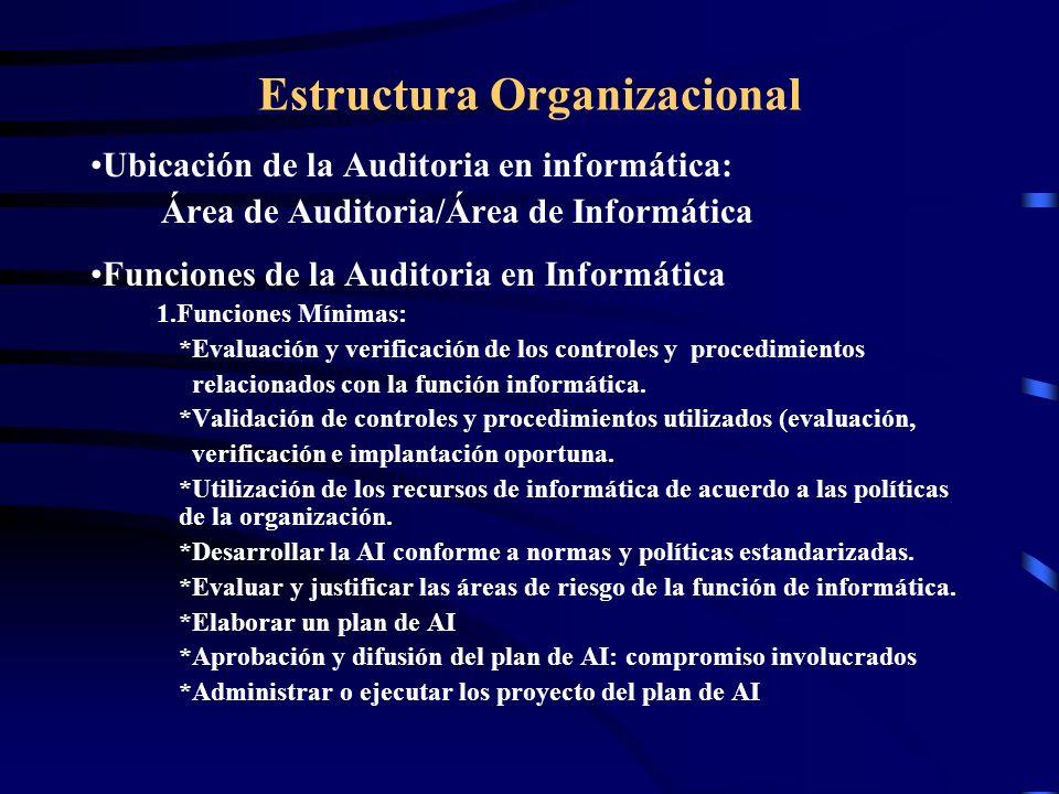 Estructura Organizacional Ubicación de la Auditoria en informática: Área de Auditoria/Área de Informática Funciones de la Auditoria en Informática 1.F