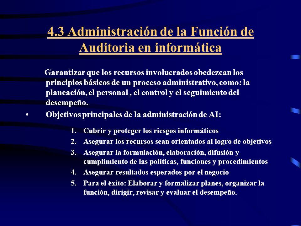 4.3 Administración de la Función de Auditoria en informática Garantizar que los recursos involucrados obedezcan los principios básicos de un proceso a