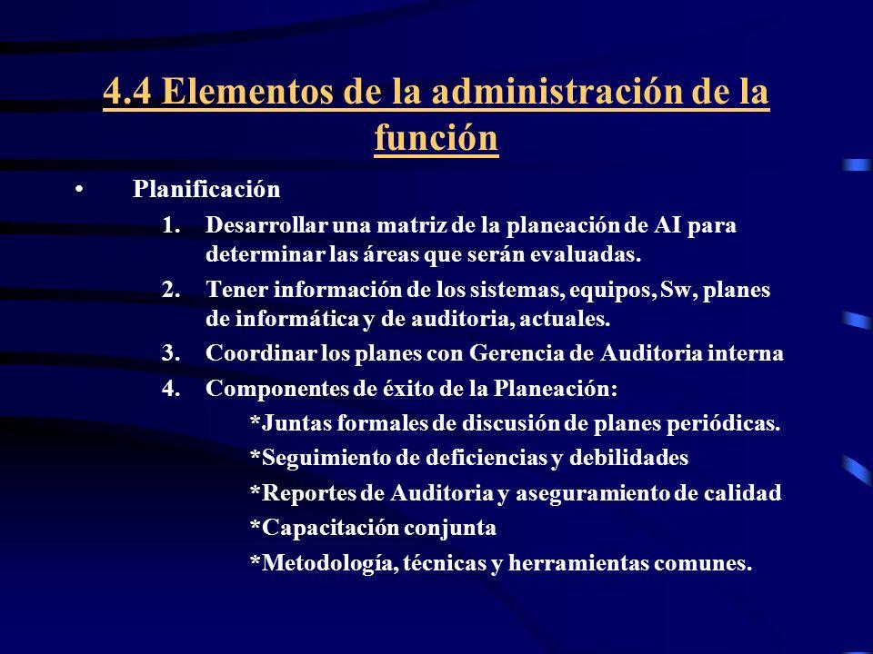 4.4 Elementos de la administración de la función Planificación 1.Desarrollar una matriz de la planeación de AI para determinar las áreas que serán eva