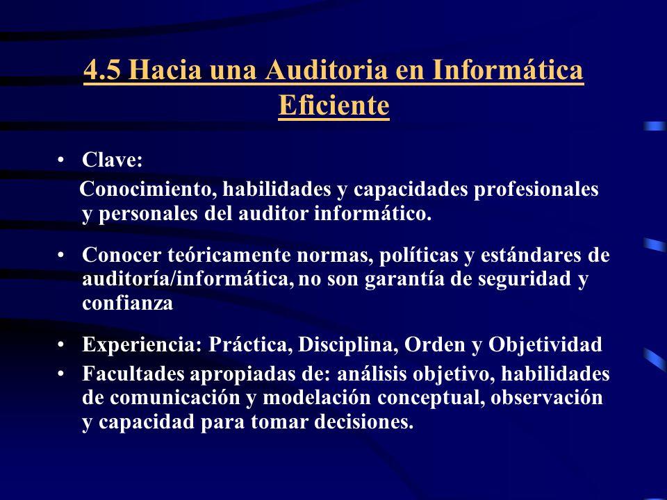 4.5 Hacia una Auditoria en Informática Eficiente Clave: Conocimiento, habilidades y capacidades profesionales y personales del auditor informático. Co