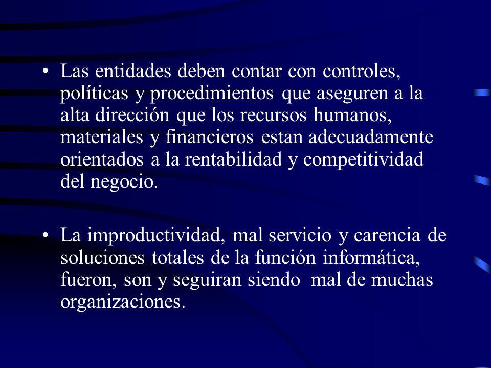 Problemas: Debilidades en la planeación del negocio (informática) Resultados negativos (imporductividad, duplicidad de funciones, etc) de los SI(Desarrollo, Mto.