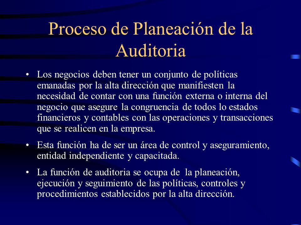 Proceso de Planeación de la Auditoria Los negocios deben tener un conjunto de políticas emanadas por la alta dirección que manifiesten la necesidad de