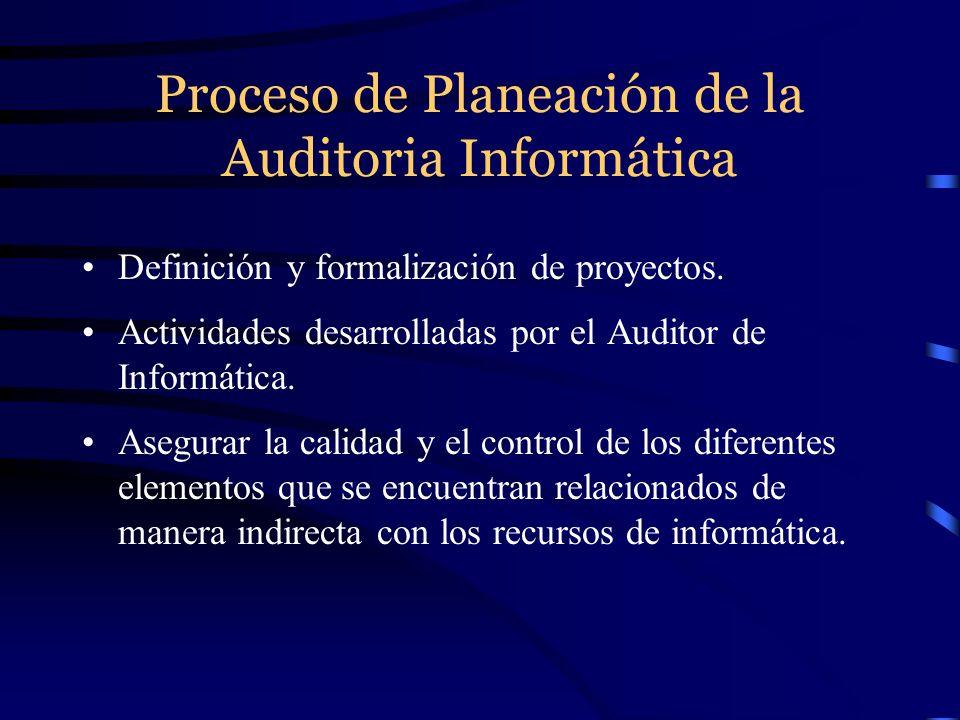 Proceso de Planeación de la Auditoria Informática Definición y formalización de proyectos. Actividades desarrolladas por el Auditor de Informática. As
