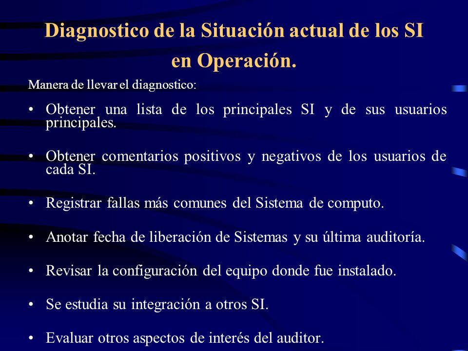 Diagnostico de la Situación actual de los SI en Operación. Manera de llevar el diagnostico: Obtener una lista de los principales SI y de sus usuarios