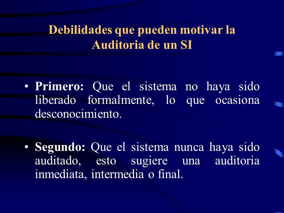 Debilidades que pueden motivar la Auditoria de un SI Primero: Que el sistema no haya sido liberado formalmente, lo que ocasiona desconocimiento. Segun