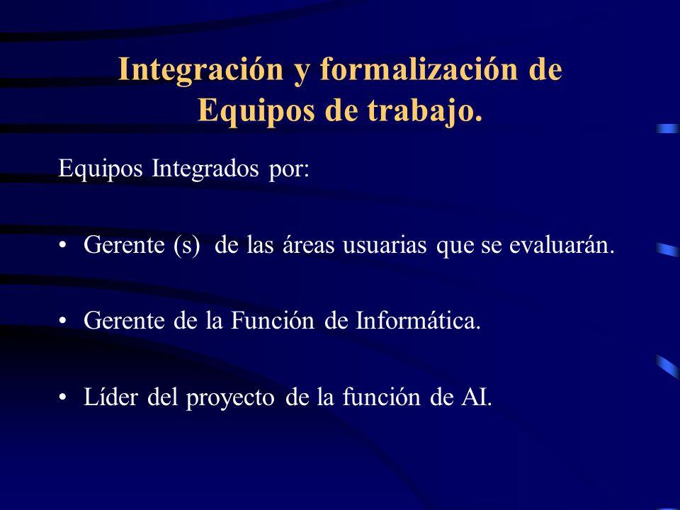 Integración y formalización de Equipos de trabajo. Equipos Integrados por: Gerente (s) de las áreas usuarias que se evaluarán. Gerente de la Función d
