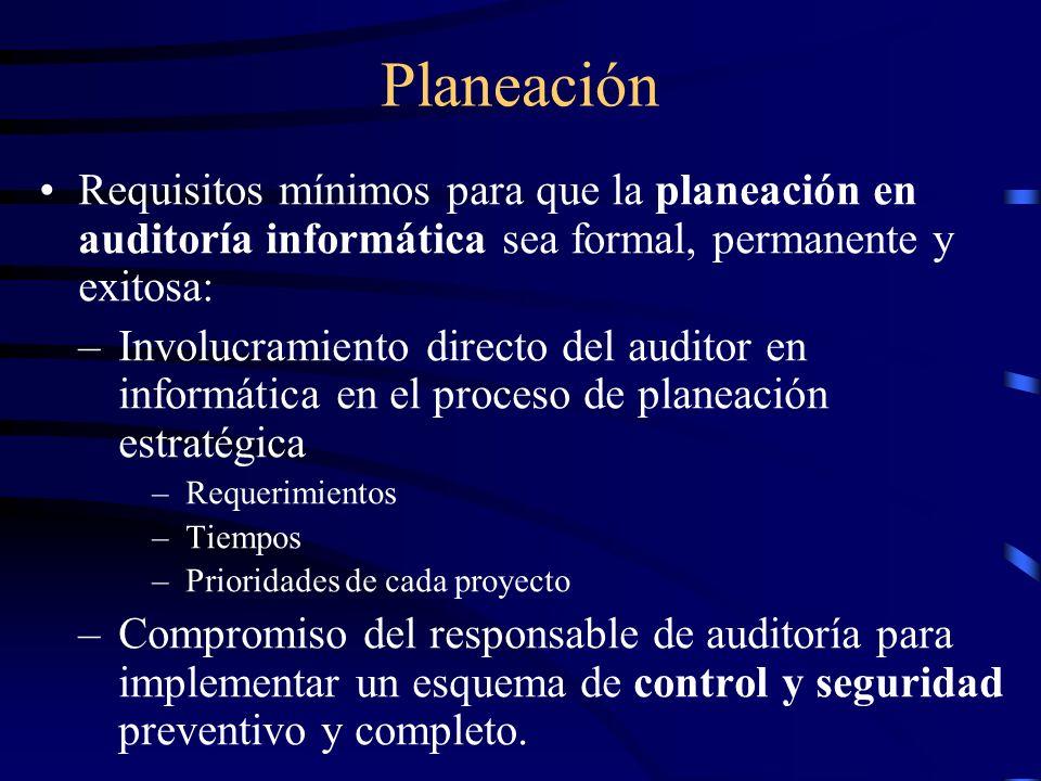 Planeación Requisitos mínimos para que la planeación en auditoría informática sea formal, permanente y exitosa: –Involucramiento directo del auditor e