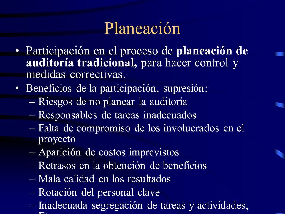 Planeación Participación en el proceso de planeación de auditoría tradicional, para hacer control y medidas correctivas. Beneficios de la participació