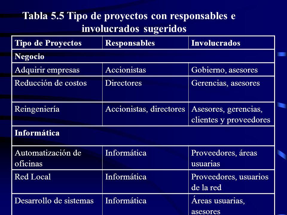 Tipo de ProyectosResponsablesInvolucrados Negocio Adquirir empresasAccionistasGobierno, asesores Reducción de costosDirectoresGerencias, asesores Rein