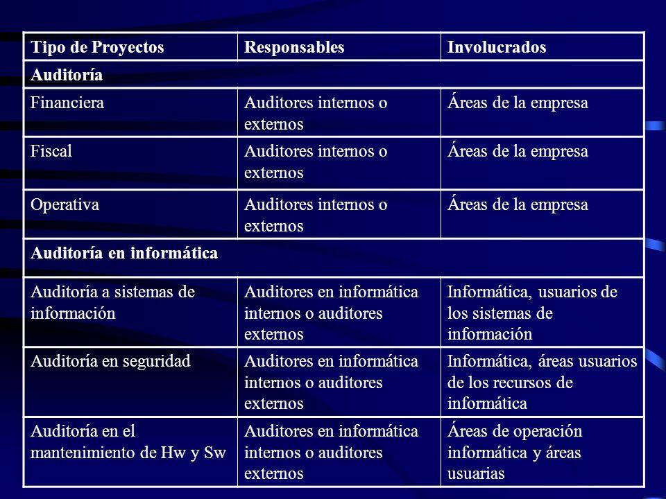 Tipo de ProyectosResponsablesInvolucrados Auditoría FinancieraAuditores internos o externos Áreas de la empresa FiscalAuditores internos o externos Ár
