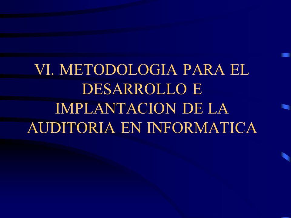 VI. METODOLOGIA PARA EL DESARROLLO E IMPLANTACION DE LA AUDITORIA EN INFORMATICA
