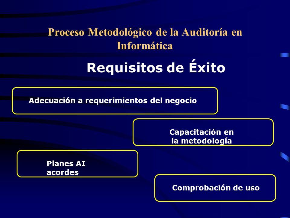 Proceso Metodológico de la Auditoría en Informática Requisitos de Éxito Adecuación a requerimientos del negocioCapacitación en la metodología Comproba