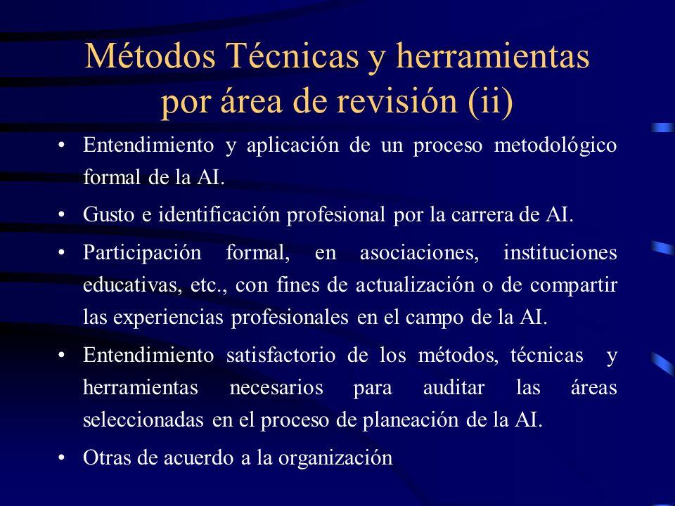 Métodos Técnicas y herramientas por área de revisión (ii) Entendimiento y aplicación de un proceso metodológico formal de la AI. Gusto e identificació