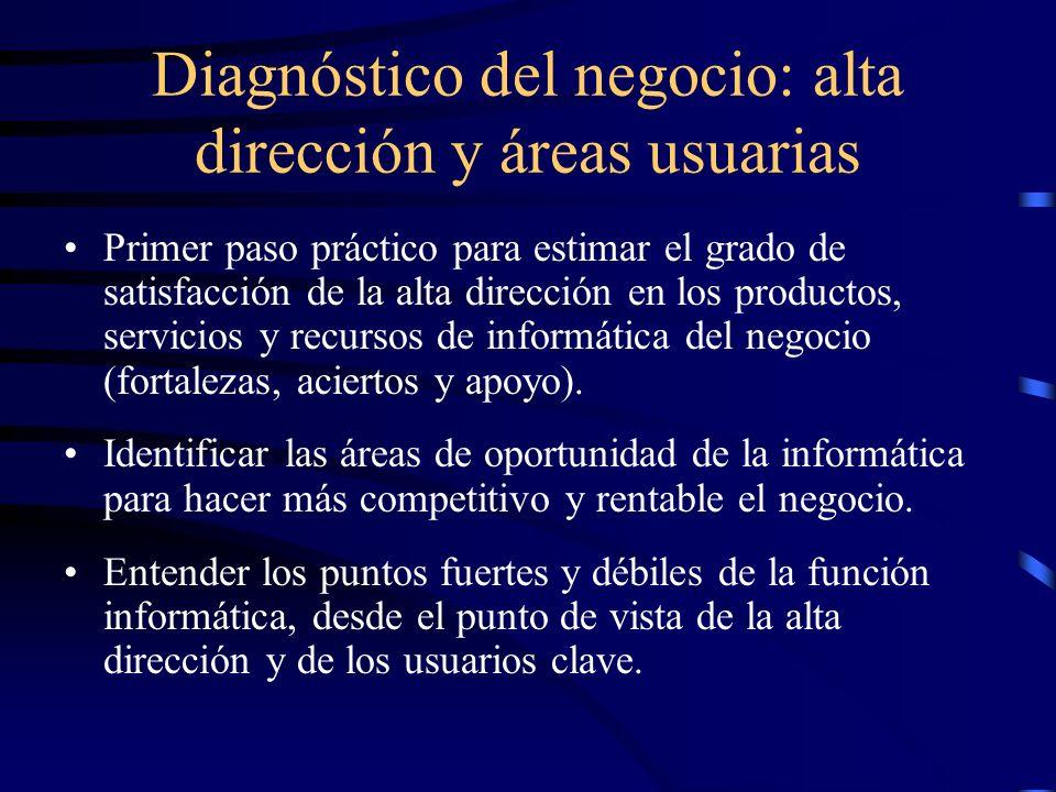 Diagnóstico del negocio: alta dirección y áreas usuarias Primer paso práctico para estimar el grado de satisfacción de la alta dirección en los produc