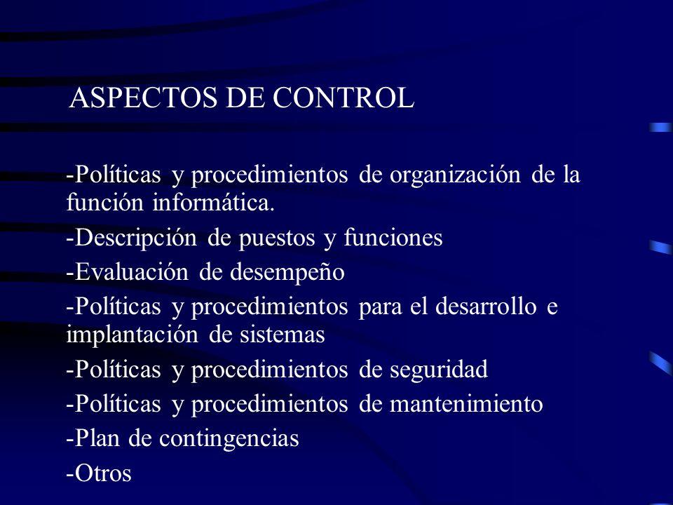 ASPECTOS DE CONTROL -Políticas y procedimientos de organización de la función informática. -Descripción de puestos y funciones -Evaluación de desempeñ
