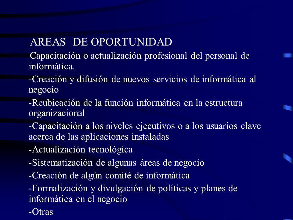 AREAS DE OPORTUNIDAD Capacitación o actualización profesional del personal de informática. -Creación y difusión de nuevos servicios de informática al