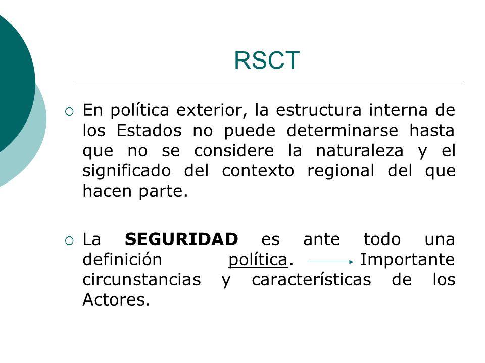 RSCT En política exterior, la estructura interna de los Estados no puede determinarse hasta que no se considere la naturaleza y el significado del con
