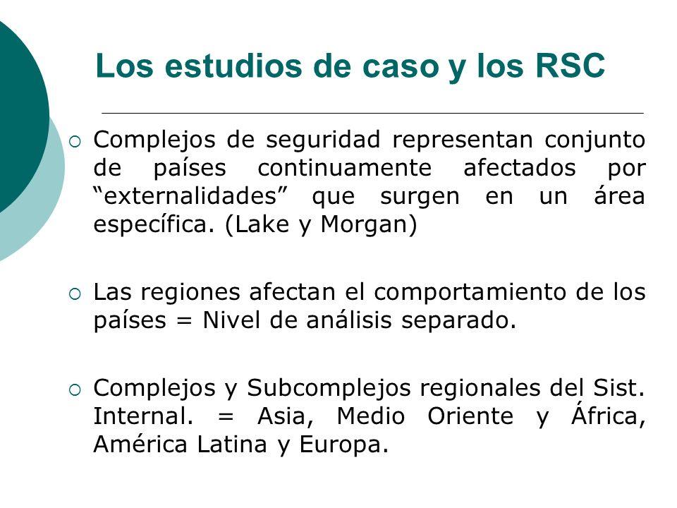 Los estudios de caso y los RSC Complejos de seguridad representan conjunto de países continuamente afectados por externalidades que surgen en un área