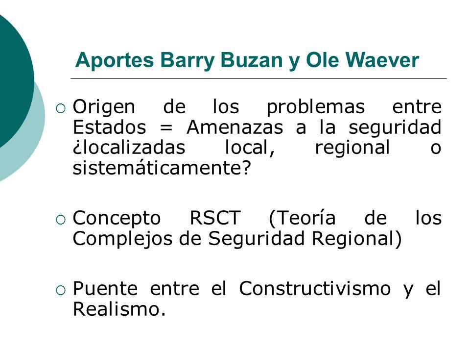 RSCT (Teoría de los Complejos de Seguridad Regional) Concepto desarrollado con anterioridad en las obras: - People States and Fear (Buzan, 1991) y - Security: A New Framework for Analize (Buzan, Waever y De Wilde 1997) Describe un tipo específico de Región, unida por problemas comunes de seguridad.