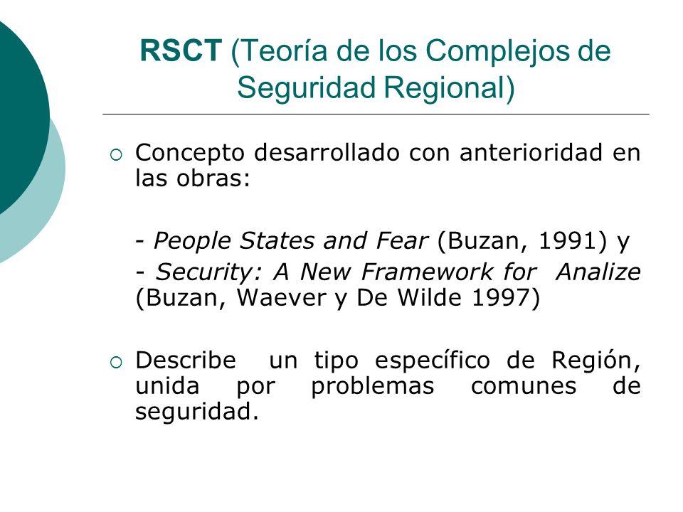 RSCT (Teoría de los Complejos de Seguridad Regional) Novedades del Autor en la obra respecto a las anteriores: La seguridad regional es entendida como un grupo de Estados cuyas inquietudes y percepciones acerca de su seguridad se interrelacionan de manera tan estrecha que sus problemas de seguridad regional no pueden analizarse o resolverse de manera aislada.