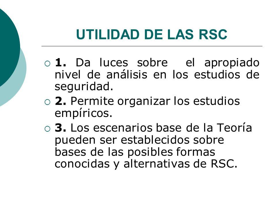UTILIDAD DE LAS RSC 1. Da luces sobre el apropiado nivel de análisis en los estudios de seguridad. 2. Permite organizar los estudios empíricos. 3. Los