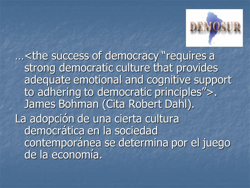 …. James Bohman (Cita Robert Dahl). La adopción de una cierta cultura democrática en la sociedad contemporánea se determina por el juego de la economí