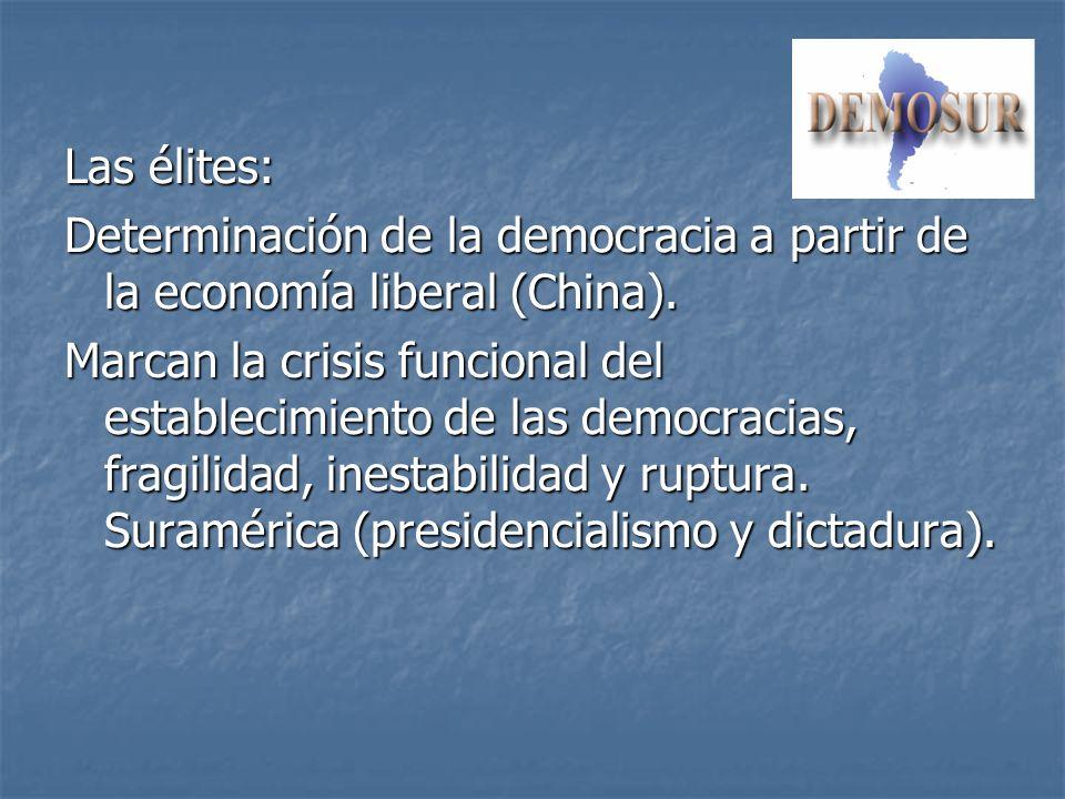 Las élites: Determinación de la democracia a partir de la economía liberal (China). Marcan la crisis funcional del establecimiento de las democracias,