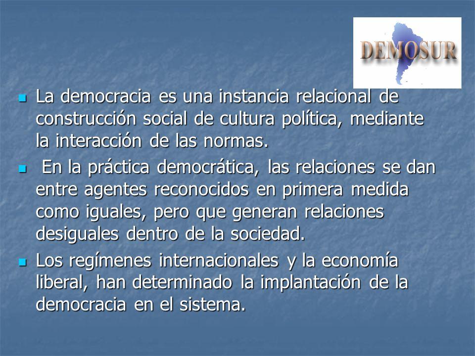 La democracia es una instancia relacional de construcción social de cultura política, mediante la interacción de las normas. La democracia es una inst