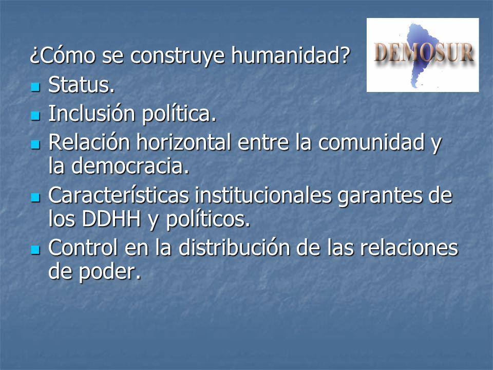 ¿Cómo se construye humanidad? Status. Status. Inclusión política. Inclusión política. Relación horizontal entre la comunidad y la democracia. Relación