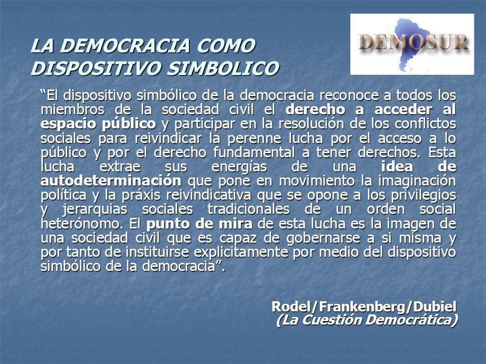LA DEMOCRACIA COMO DISPOSITIVO SIMBOLICO El dispositivo simbólico de la democracia reconoce a todos los miembros de la sociedad civil el derecho a acc