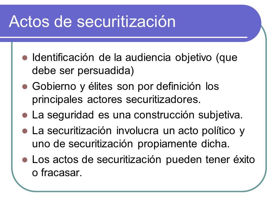 Actos de securitización Identificación de la audiencia objetivo (que debe ser persuadida) Gobierno y élites son por definición los principales actores