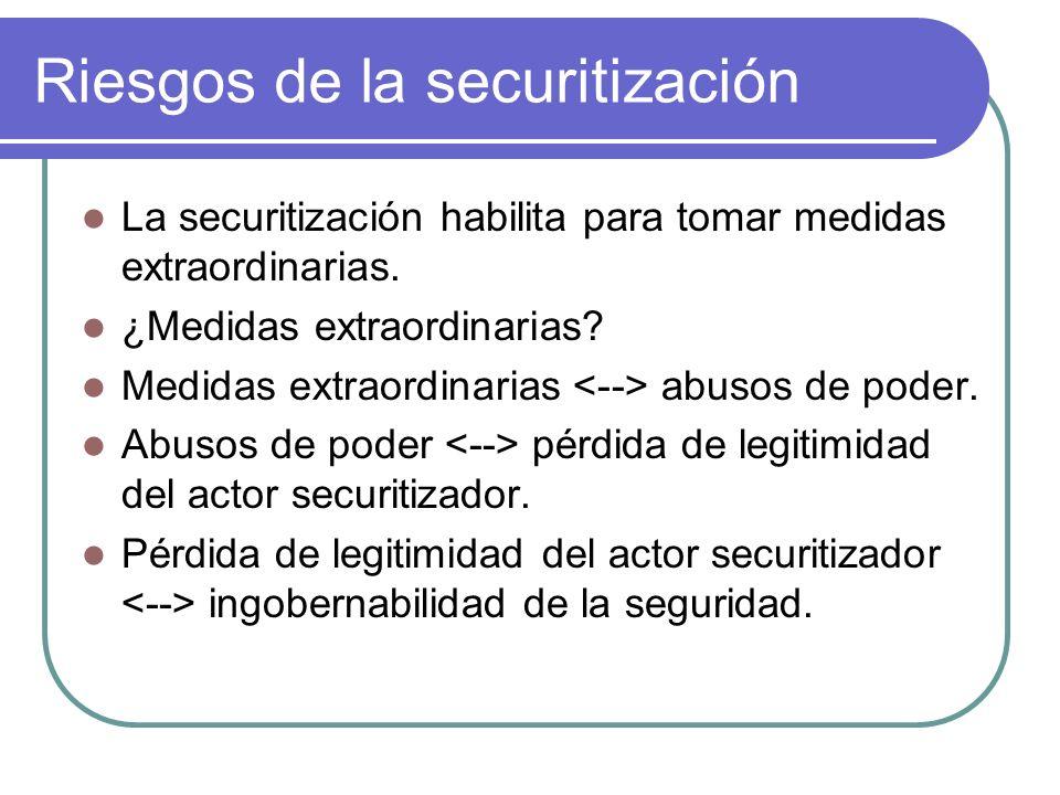 Riesgos de la securitización La securitización habilita para tomar medidas extraordinarias. ¿Medidas extraordinarias? Medidas extraordinarias abusos d