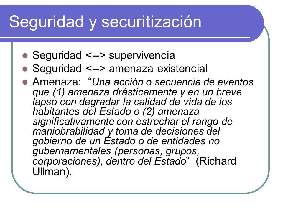 Seguridad y securitización Seguridad supervivencia Seguridad amenaza existencial Amenaza: Una acción o secuencia de eventos que (1) amenaza drásticame