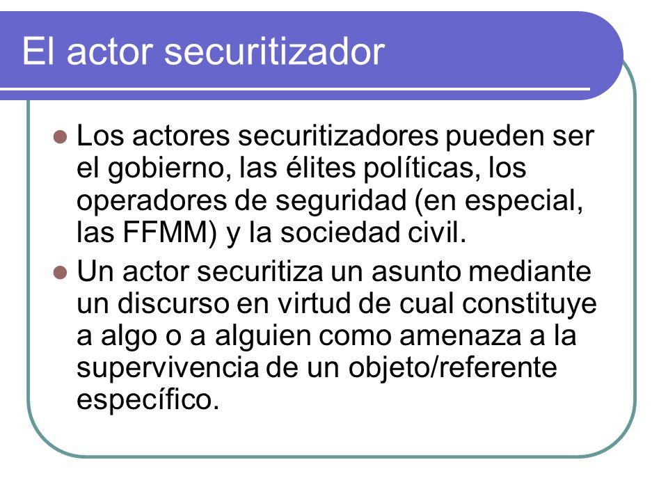 El actor securitizador Los actores securitizadores pueden ser el gobierno, las élites políticas, los operadores de seguridad (en especial, las FFMM) y