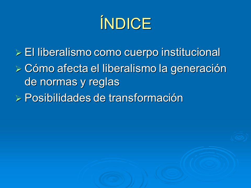 ÍNDICE El liberalismo como cuerpo institucional El liberalismo como cuerpo institucional Cómo afecta el liberalismo la generación de normas y reglas Cómo afecta el liberalismo la generación de normas y reglas Posibilidades de transformación Posibilidades de transformación