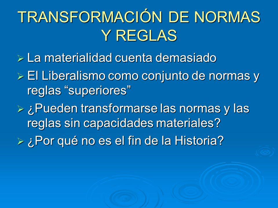 TRANSFORMACIÓN DE NORMAS Y REGLAS La materialidad cuenta demasiado La materialidad cuenta demasiado El Liberalismo como conjunto de normas y reglas su