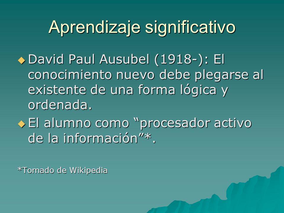 Aprendizaje significativo David Paul Ausubel (1918-): El conocimiento nuevo debe plegarse al existente de una forma lógica y ordenada. David Paul Ausu