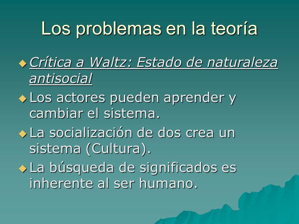 Los problemas en la teoría Crítica a Waltz: Estado de naturaleza antisocial Crítica a Waltz: Estado de naturaleza antisocial Los actores pueden aprend
