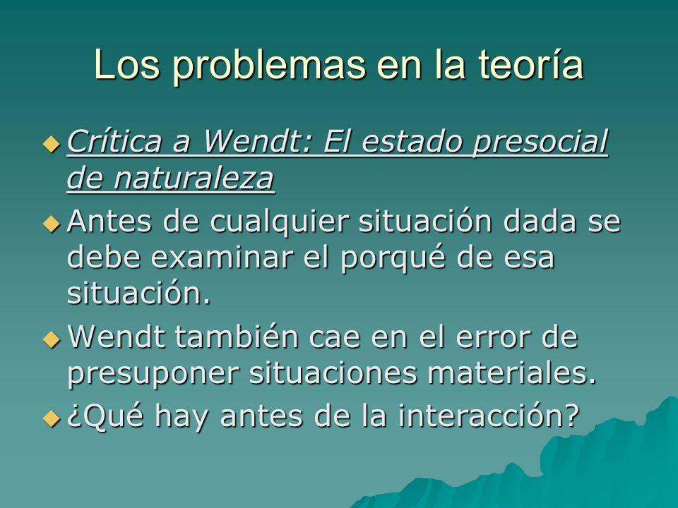 Los problemas en la teoría Crítica a Wendt: El estado presocial de naturaleza Crítica a Wendt: El estado presocial de naturaleza Antes de cualquier si