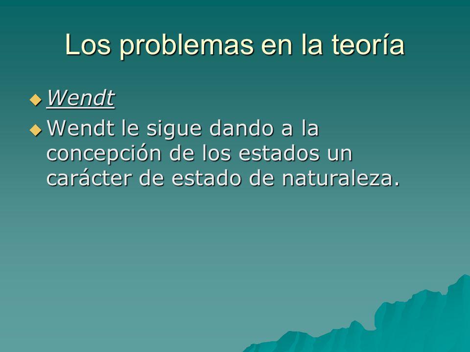 Los problemas en la teoría Wendt Wendt Wendt le sigue dando a la concepción de los estados un carácter de estado de naturaleza. Wendt le sigue dando a