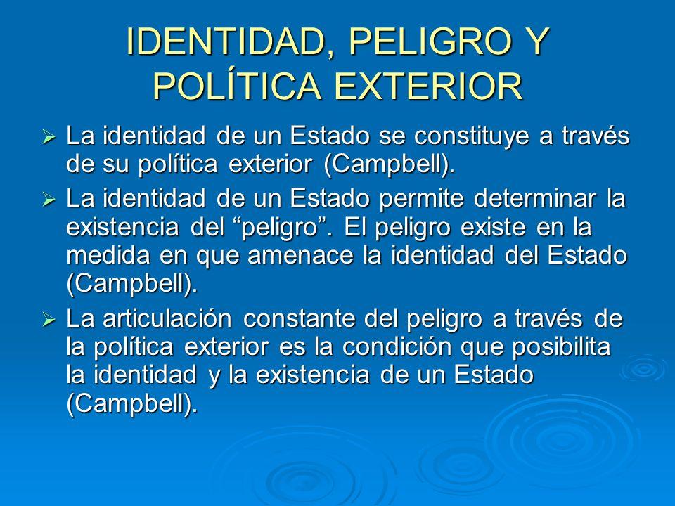IDENTIDAD, PELIGRO Y POLÍTICA EXTERIOR La identidad de un Estado se constituye a través de su política exterior (Campbell). La identidad de un Estado