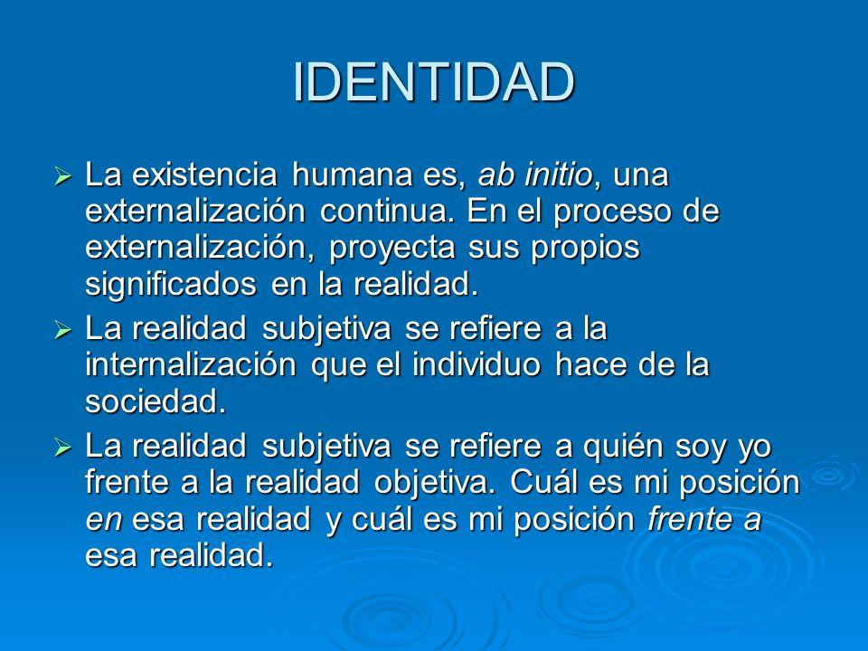 IDENTIDAD La existencia humana es, ab initio, una externalización continua. En el proceso de externalización, proyecta sus propios significados en la