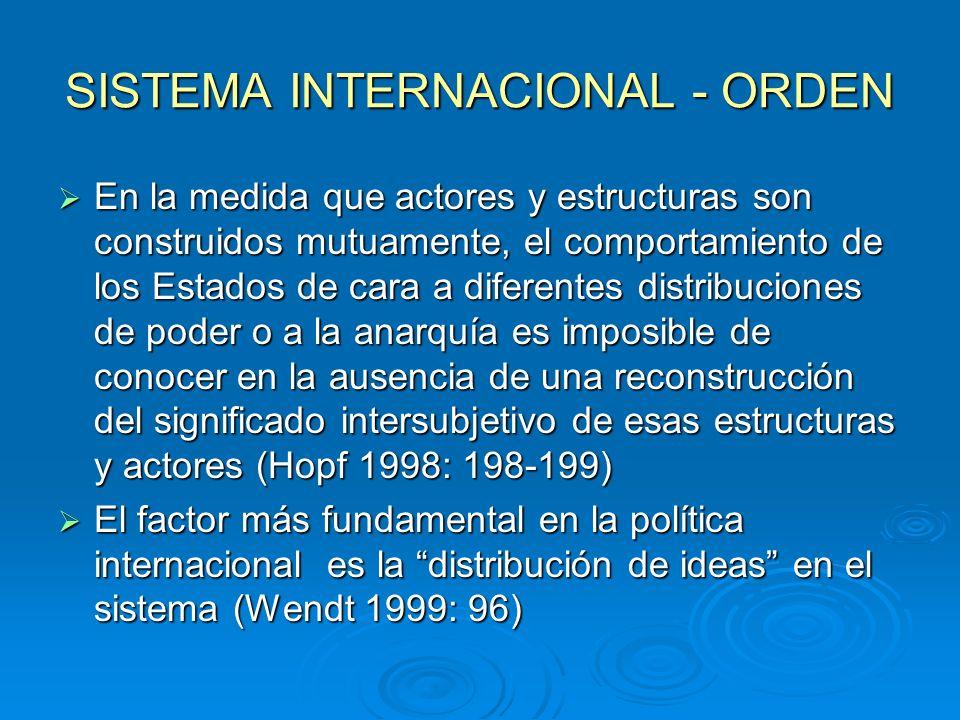 SISTEMA INTERNACIONAL - ORDEN En la medida que actores y estructuras son construidos mutuamente, el comportamiento de los Estados de cara a diferentes