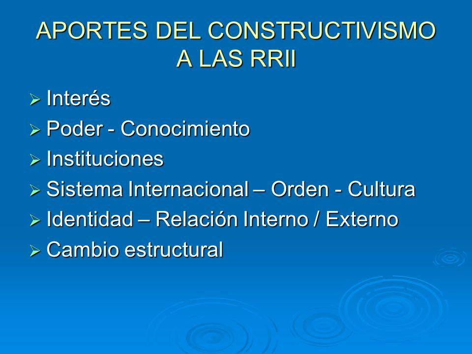 APORTES DEL CONSTRUCTIVISMO A LAS RRII Interés Interés Poder - Conocimiento Poder - Conocimiento Instituciones Instituciones Sistema Internacional – O