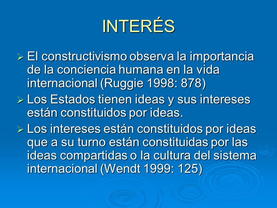 INTERÉS El constructivismo observa la importancia de la conciencia humana en la vida internacional (Ruggie 1998: 878) El constructivismo observa la im