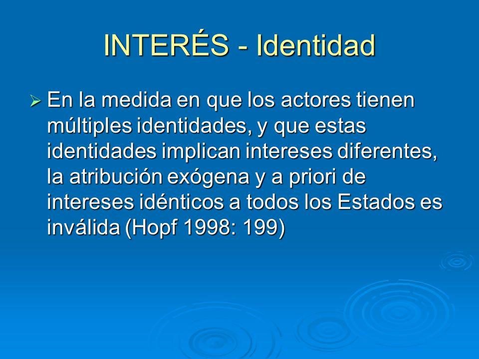 INTERÉS - Identidad En la medida en que los actores tienen múltiples identidades, y que estas identidades implican intereses diferentes, la atribución