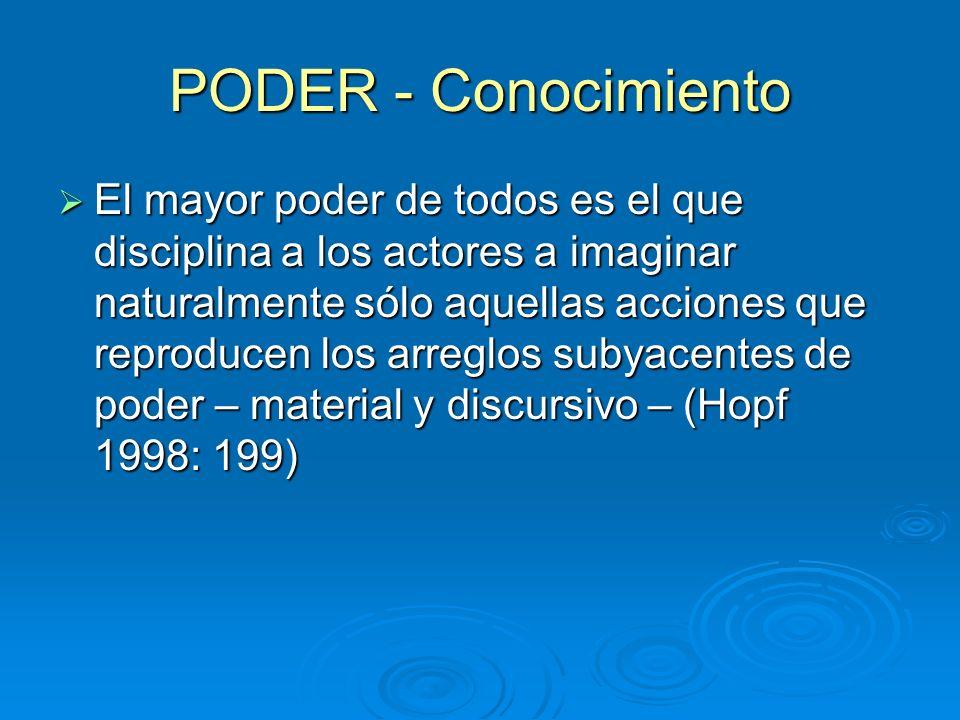 PODER - Conocimiento El mayor poder de todos es el que disciplina a los actores a imaginar naturalmente sólo aquellas acciones que reproducen los arre